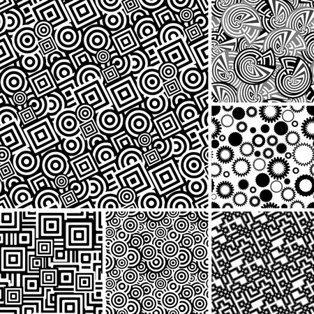collections: Retro black and white seamless backgrounds Illustration