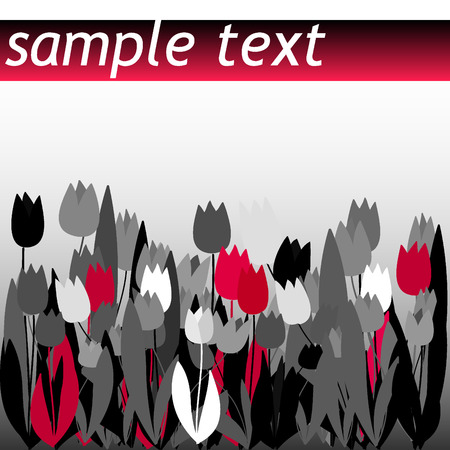 Black and red vector tulip field Vector
