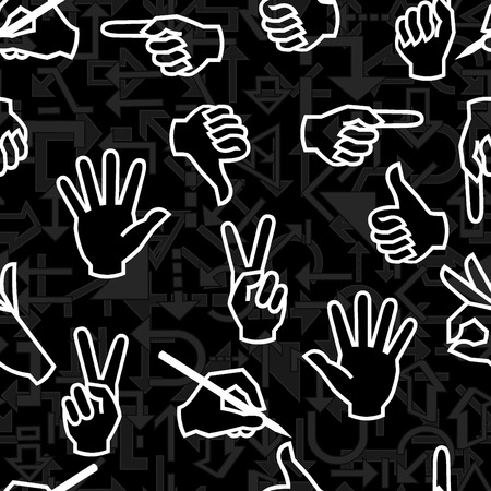 Seamless vector pattern with hand gestures and arrow signs Vector