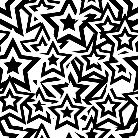 Retro black and white seamless pentagram background