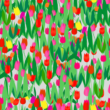 Seamless vivid tulip pattern Stock Vector - 2998425