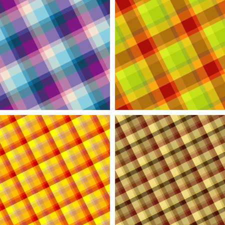 madras: Collection of plaid. Seamless patterns