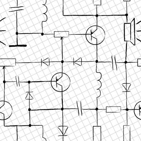 componentes: Seamless circuito electr�nico. Dise�o garabatos sobre papel blanco  Vectores