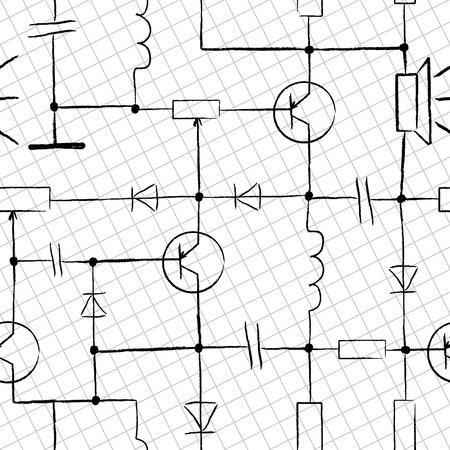 Seamless Electronic circuit. Design scribbles on white paper Vector