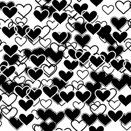 Seamlessly vector wallpaper with black hearts Vector