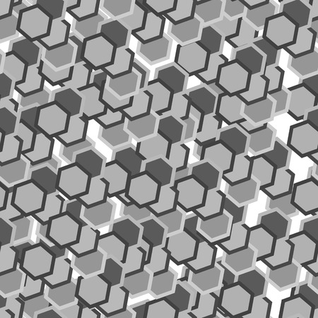 Grey hexagon tiles. Seamless vector pattern Vector