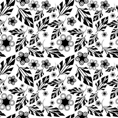 Seamlessly vector wallpaper with art black foliage