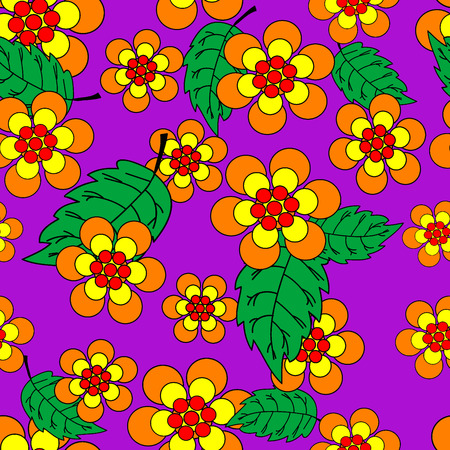 Vivid, colorful, repeating flower background on violet Vector