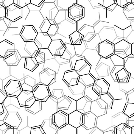 Seamlessly vector wallpaper chemistry formulas on white Vector
