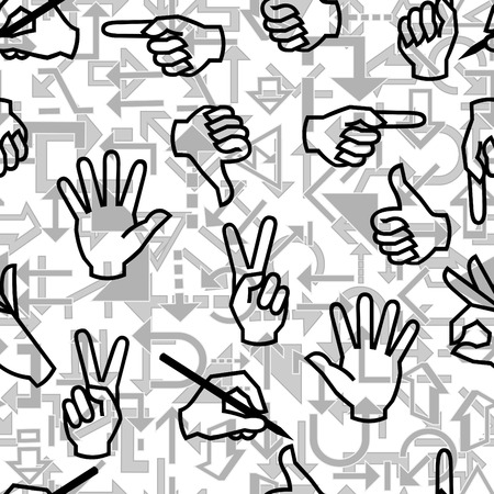 pantomime: Seamless vector pattern with hand gestures and arrow signs