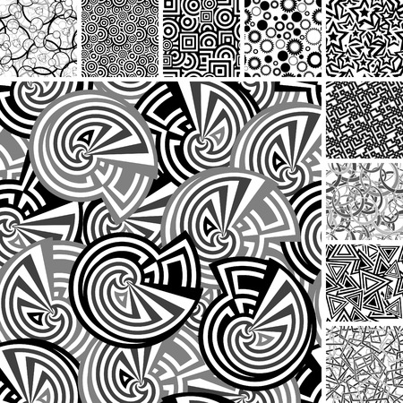 Retro black and white seamless backgrounds Stock Vector - 3299808