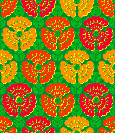 Vivid, colorful, repeating flower background on green Vector