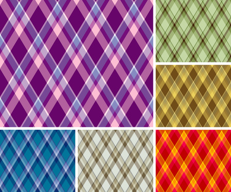 Collection of seamless plaid patterns. Volume 7 Vector