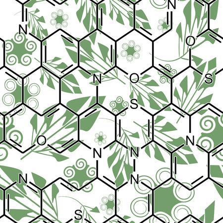 Green chemistry. Seamlessly vector wallpaper Vector