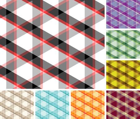 Big collection of seamless trigonal plaid patterns. Volume 7 Vector
