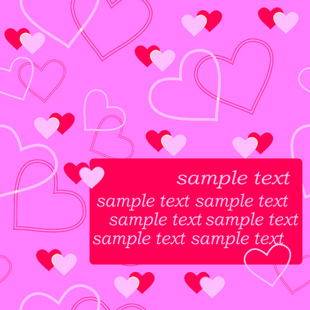 fondness: Seamlessly vector wallpaper valentine with hearts and sample text Illustration