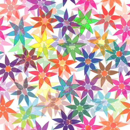 Vivid, colorful, repeating flower background on white Vector