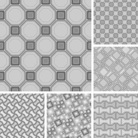 uncolored: 3d vector de patrones sin fisuras con los azulejos Vectores