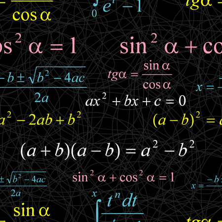 mathematical: Seamlessly vector wallpaper mathematics on black
