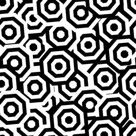 polyhedron: Retro black and white seamless octahedron background