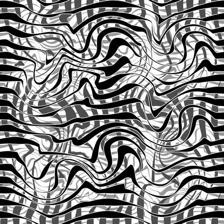 Seamless black and white abstract line vector pattern Illustration