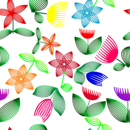 Vivid, colorful, repeating flower background Vector