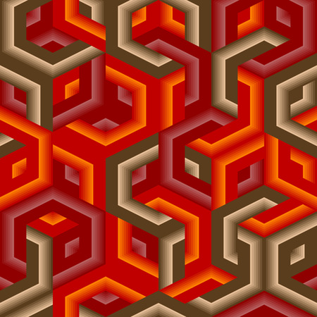Retro vivid seamless hexagon background Vector
