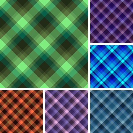 madras: Collection of plaid. Seamless vector patterns