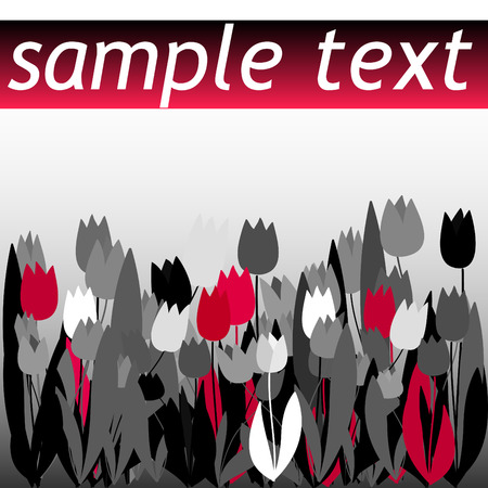 Black and red tulip pattern with field for text Vector