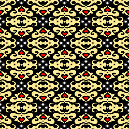 Seamless ornament pattern with stars and hearts Vector