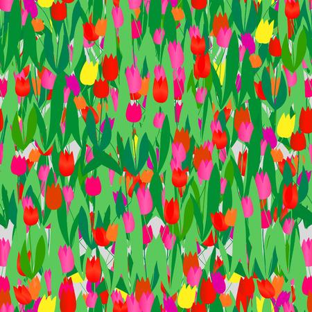 Seamless vivid tulip vector pattern Stock Vector - 3927852