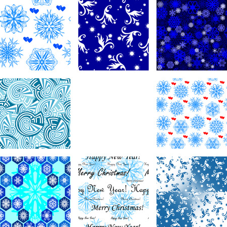 Golden collection of seamless Christmas wallpapers Vector