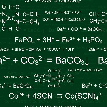 Seamlessly wallpaper chemistry scribbles on green blackboard Vector
