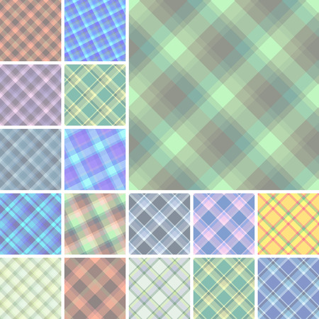 Big collection of seamless plaid vector patterns Vector