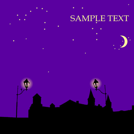 Night castle, background with sample text Vector