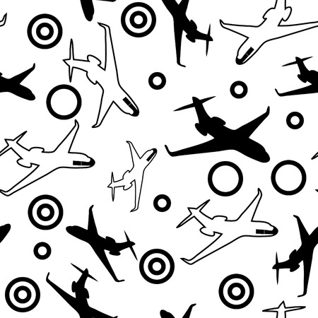 seamless black & white airplane background Vector