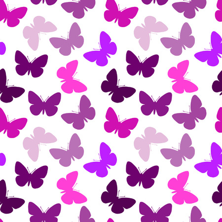 Violet seamless butterfly background Vector