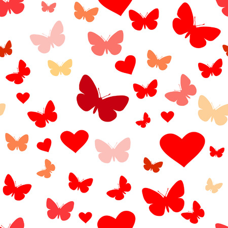 fondness: seamless vector wallpaper valentines with hearts & butterfly