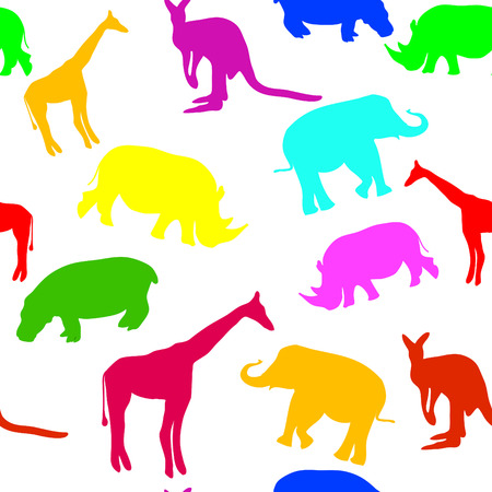 seamless vector background with colorfull animals Vector