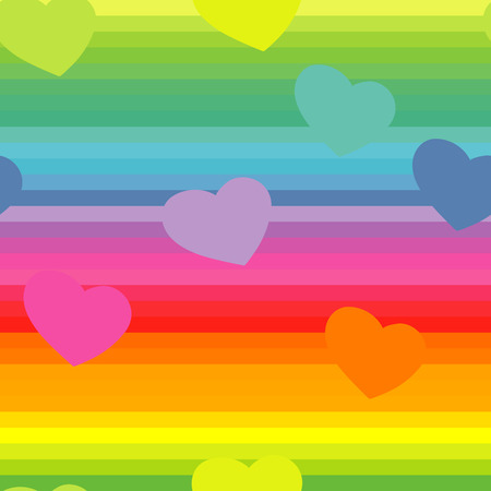 seamless background with the rainbow colors and a heart symbol Vector