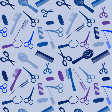 nail scissors: Vector illustration. Seamless hairdressing sallon background. Illustration