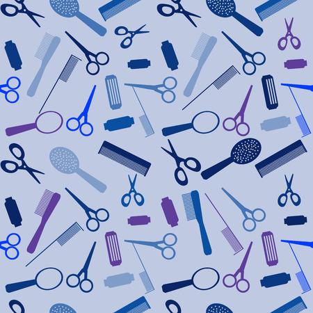 cosmetologist: Vector illustration. Seamless hairdressing sallon background. Illustration