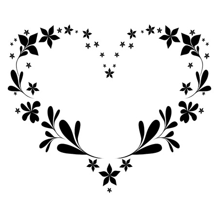 floral heart: vector pattern in the form of heart.