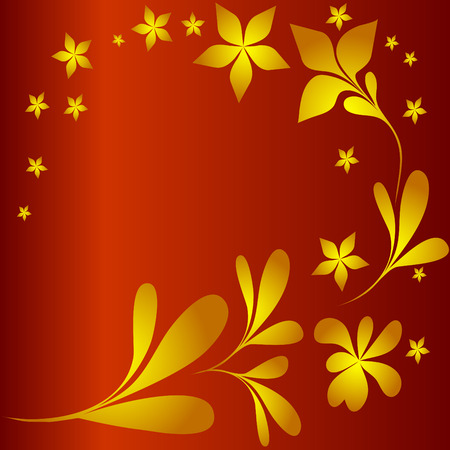 vector red and gold background with flowers Vector