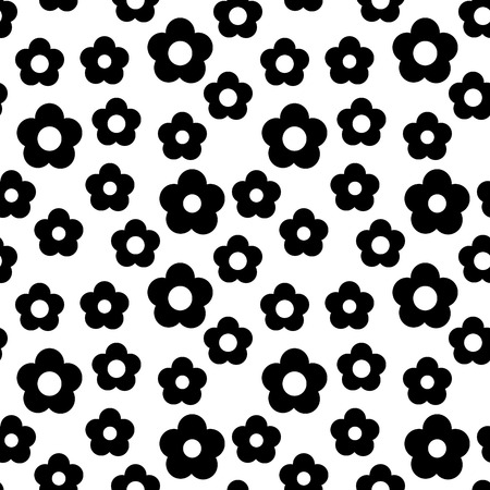 Simple black and white repeating flower background Illustration