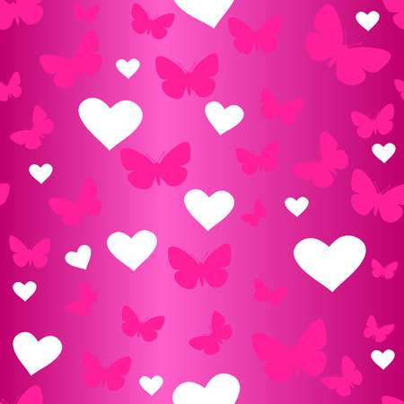 endearment: seamless vector wallpaper valentines with hearts & butterfly