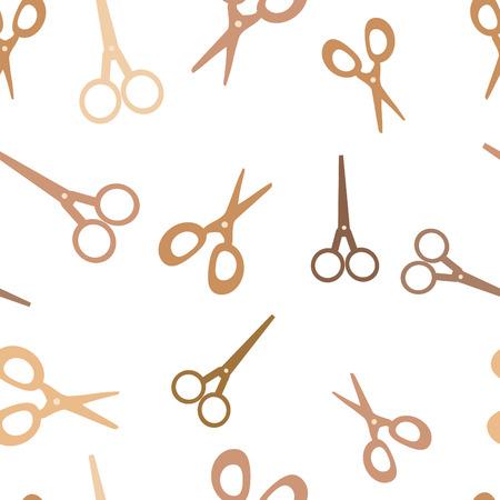 vector seamless background wiht broun scissors