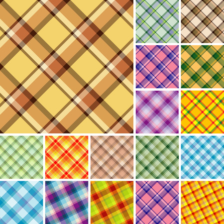 Big collection of seamless plaid patterns. Volume 9 Vector