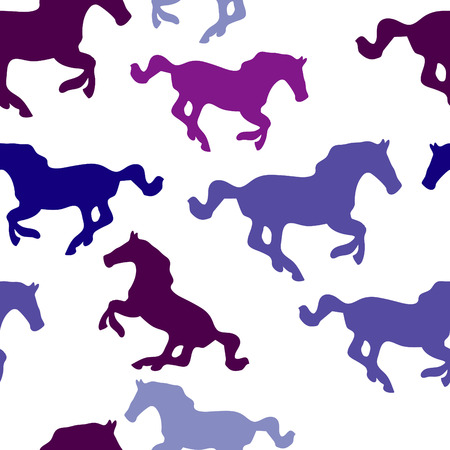 multiple image: seamless vector background with horses