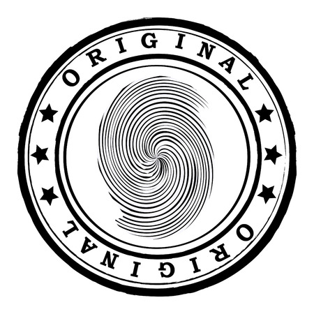 Abstract office rubber stamp with finger print Stock Vector - 4311342